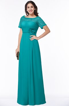 Colsbm Amanda Teal Traditional Short Sleeve Zip Up Chiffon Floor Length Flower Bridesmaid Dresses