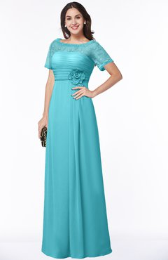 ColsBM Amanda Turquoise Traditional Short Sleeve Zip up Chiffon Floor Length Flower Bridesmaid Dresses