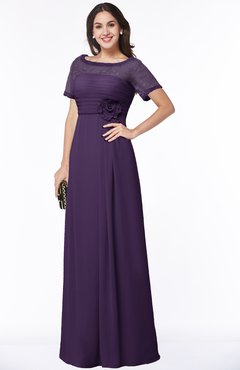 ColsBM Amanda Violet Traditional Short Sleeve Zip up Chiffon Floor Length Flower Bridesmaid Dresses