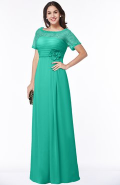 ColsBM Amanda Viridian Green Traditional Short Sleeve Zip up Chiffon Floor Length Flower Bridesmaid Dresses
