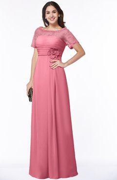ColsBM Amanda Watermelon Traditional Short Sleeve Zip up Chiffon Floor Length Flower Bridesmaid Dresses