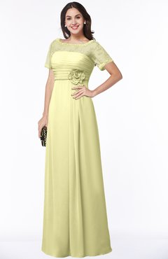 ColsBM Amanda Wax Yellow Traditional Short Sleeve Zip up Chiffon Floor Length Flower Bridesmaid Dresses