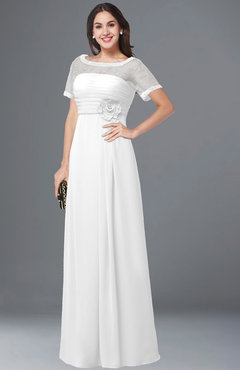 ColsBM Amanda White Traditional Short Sleeve Zip up Chiffon Floor Length Flower Bridesmaid Dresses