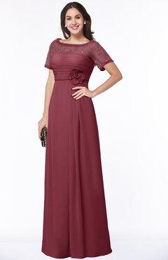 Colsbm Amanda Wine Traditional Short Sleeve Zip Up Chiffon Floor Length Flower Bridesmaid Dresses