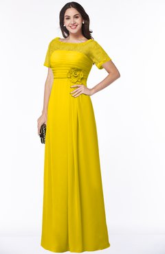 ColsBM Amanda Yellow Traditional Short Sleeve Zip up Chiffon Floor Length Flower Bridesmaid Dresses