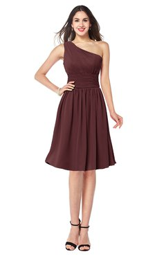 ColsBM Violet Burgundy Sexy Asymmetric Neckline Sleeveless Zip up Chiffon Knee Length Plus Size Bridesmaid Dresses