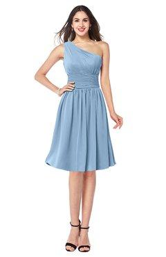 ColsBM Violet Dusty Blue Sexy Asymmetric Neckline Sleeveless Zip up Chiffon Knee Length Plus Size Bridesmaid Dresses