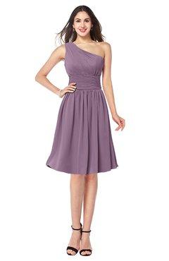ColsBM Violet Mauve Sexy Asymmetric Neckline Sleeveless Zip up Chiffon Knee Length Plus Size Bridesmaid Dresses