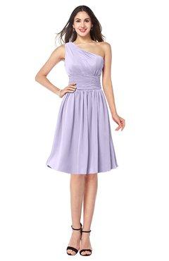 ColsBM Violet Pastel Lilac Sexy Asymmetric Neckline Sleeveless Zip up Chiffon Knee Length Plus Size Bridesmaid Dresses