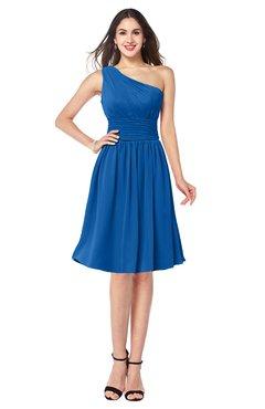 ColsBM Violet Royal Blue Sexy Asymmetric Neckline Sleeveless Zip up Chiffon Knee Length Plus Size Bridesmaid Dresses