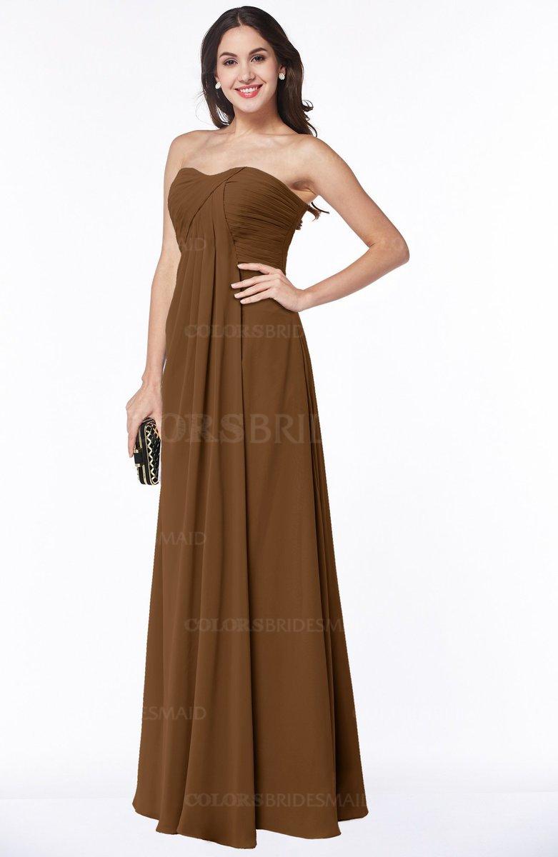9e6c14f6cdf ColsBM Rebecca Brown Simple A-line Sleeveless Zip up Floor Length Plus Size Bridesmaid  Dresses