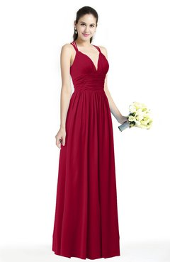 ColsBM Veronica Maroon Simple A-line Sleeveless Zipper Chiffon Sash Plus Size Bridesmaid Dresses
