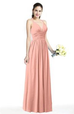 ac1f2e8edf ColsBM Veronica Peach Simple A-line Sleeveless Zipper Chiffon Sash Plus  Size Bridesmaid Dresses