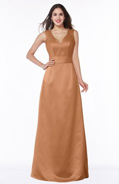 ColsBM Faye Amber Luxury A-line V-neck Sleeveless Satin Sash Wedding Guest Dresses