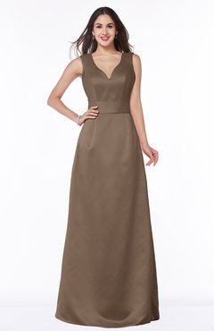 ColsBM Faye Brown Luxury A-line V-neck Sleeveless Satin Sash Wedding Guest Dresses