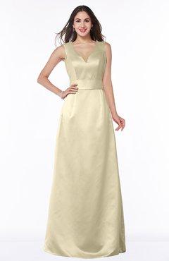 ColsBM Faye Champagne Luxury A-line V-neck Sleeveless Satin Sash Wedding Guest Dresses