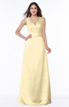 ColsBM Faye Cornhusk Luxury A-line V-neck Sleeveless Satin Sash Wedding Guest Dresses