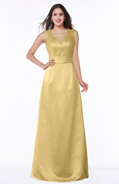 ColsBM Faye Gold Luxury A-line V-neck Sleeveless Satin Sash Wedding Guest Dresses