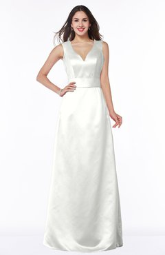 ColsBM Faye Ivory Luxury A-line V-neck Sleeveless Satin Sash Wedding Guest Dresses