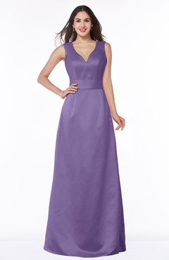 ColsBM Faye Lilac Luxury A-line V-neck Sleeveless Satin Sash Wedding Guest Dresses