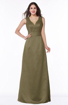 ColsBM Faye Otter Luxury A-line V-neck Sleeveless Satin Sash Wedding Guest Dresses