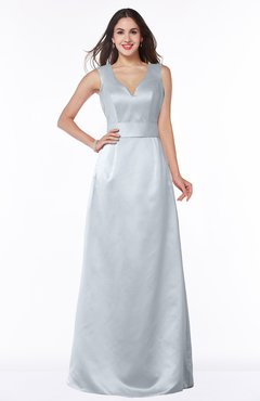 ColsBM Faye Silver Luxury A-line V-neck Sleeveless Satin Sash Wedding Guest Dresses
