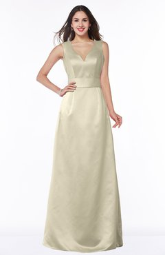 ColsBM Faye Tan Luxury A-line V-neck Sleeveless Satin Sash Wedding Guest Dresses