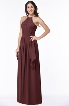 ColsBM Jasmine Burgundy Sexy Halter Sleeveless Zipper Chiffon Ruching Plus Size Bridesmaid Dresses