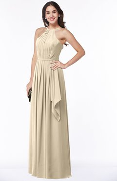 ColsBM Jasmine Champagne Sexy Halter Sleeveless Zipper Chiffon Ruching Plus Size Bridesmaid Dresses