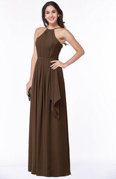 ColsBM Jasmine Chocolate Brown Sexy Halter Sleeveless Zipper Chiffon Ruching Plus Size Bridesmaid Dresses