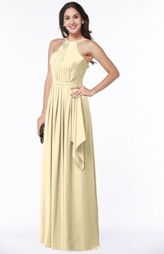 ColsBM Jasmine Cornhusk Sexy Halter Sleeveless Zipper Chiffon Ruching Plus Size Bridesmaid Dresses