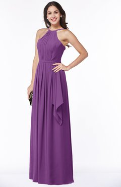 ColsBM Jasmine Dahlia Sexy Halter Sleeveless Zipper Chiffon Ruching Plus Size Bridesmaid Dresses