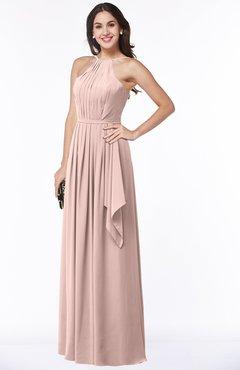 ColsBM Jasmine Dusty Rose Sexy Halter Sleeveless Zipper Chiffon Ruching Plus Size Bridesmaid Dresses