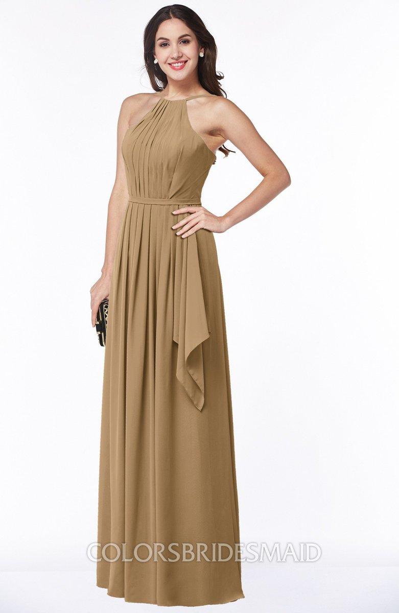 682e7716ba ColsBM Jasmine Indian Tan Sexy Halter Sleeveless Zipper Chiffon Ruching  Plus Size Bridesmaid Dresses
