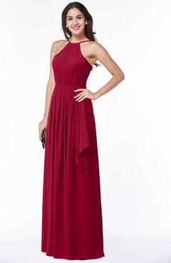 ColsBM Jasmine Maroon Sexy Halter Sleeveless Zipper Chiffon Ruching Plus Size Bridesmaid Dresses