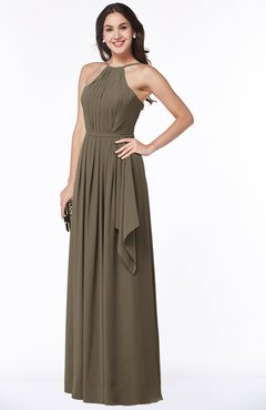 ColsBM Jasmine Otter Sexy Halter Sleeveless Zipper Chiffon Ruching Plus Size Bridesmaid Dresses