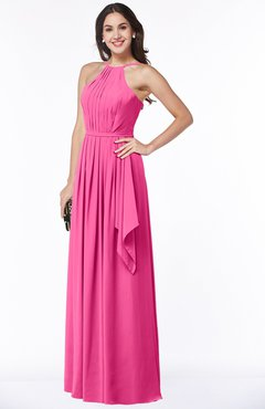 ColsBM Jasmine Rose Pink Sexy Halter Sleeveless Zipper Chiffon Ruching Plus Size Bridesmaid Dresses