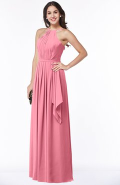 ColsBM Jasmine Watermelon Sexy Halter Sleeveless Zipper Chiffon Ruching Plus Size Bridesmaid Dresses