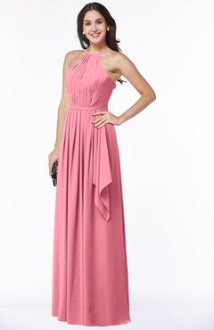 ColsBM Jasmine Watermelon Sexy Halter Sleeveless Zipper Chiffon Ruching Plus Size Bridesmaid Dresses