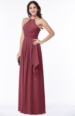 ColsBM Jasmine Wine Sexy Halter Sleeveless Zipper Chiffon Ruching Plus Size Bridesmaid Dresses