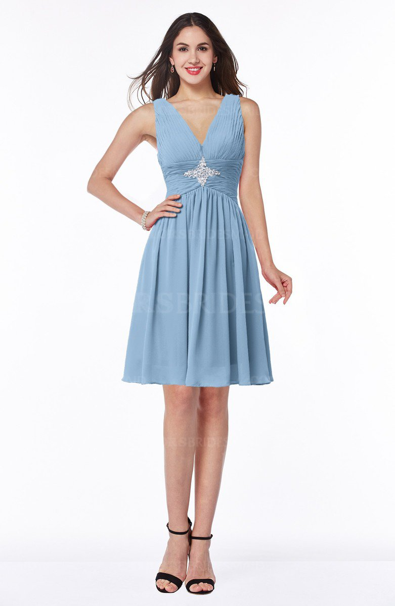 Sky Blue Modern Fit-n-Flare Sleeveless Zip up Chiffon Knee Length ...