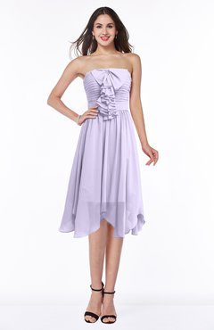 b8fe734faca ColsBM Anaya Pastel Lilac Modern A-line Strapless Chiffon Knee Length Pick  up Wedding Guest