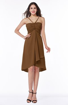 ColsBM Elliana Brown Classic A-line Spaghetti Sleeveless Chiffon Ruching Plus Size Bridesmaid Dresses