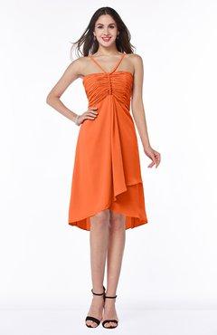 ColsBM Elliana Tangerine Classic A-line Spaghetti Sleeveless Chiffon Ruching Plus Size Bridesmaid Dresses