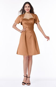 ColsBM Paloma Amber Modest Short Sleeve Zip up Satin Knee Length Pleated Mother of the Bride Dresses