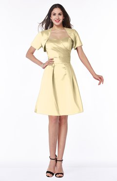 ColsBM Paloma Cornhusk Modest Short Sleeve Zip up Satin Knee Length Pleated Mother of the Bride Dresses