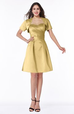 ColsBM Paloma Gold Modest Short Sleeve Zip up Satin Knee Length Pleated Mother of the Bride Dresses