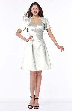 ColsBM Paloma Ivory Modest Short Sleeve Zip up Satin Knee Length Pleated Mother of the Bride Dresses