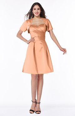 ColsBM Paloma Salmon Modest Short Sleeve Zip up Satin Knee Length Pleated Mother of the Bride Dresses
