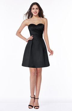 ColsBM Prudence Black Classic A-line Half Backless Knee Length Ruching Little Black Dresses